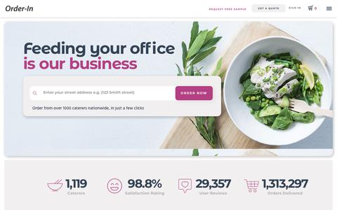 Screenshot of Home Page orderin.com.au - Corporate Catering Sydney, Melbourne, Brisbane | Order-In - captured Sept. 10, 2019