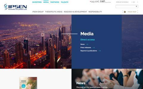 Screenshot of Press Page ipsen.com - Media - Ipsen Group - captured Sept. 20, 2018