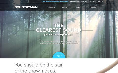 Screenshot of Home Page countryman.com - Unparalleled Sound  | Countryman Associates, Inc. - captured Oct. 3, 2014