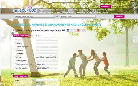 Screenshot of Signup Page mycity4kids.com - Parent Registration Page | mycity4kids - captured Sept. 18, 2014