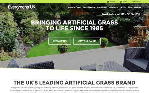 Screenshot of Home Page evergreensuk.com - Artificial Grass Suppliers - Evergreens UK™ - captured Jan. 31, 2016