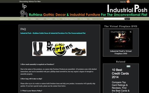 Screenshot of FAQ Page industrialposh.com - FAQ Industrial Posh - captured Sept. 30, 2014