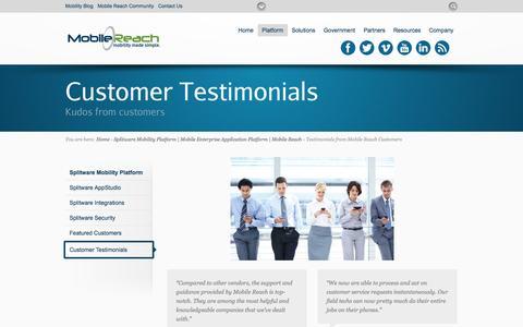 Screenshot of Testimonials Page mobilereach.com - Testimonials from Mobile Reach Customers - Mobile Reach: Enterprise Mobility Made Simple - captured Oct. 29, 2014