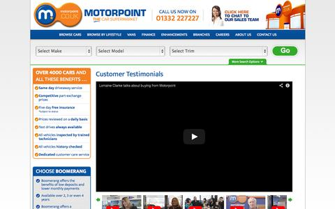 Screenshot of Testimonials Page motorpoint.co.uk - Testimonials Parent Container - captured Sept. 23, 2014