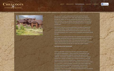 Screenshot of Testimonials Page chillcoots.com - Testimionals ‹ Chillcoots Construction, LLC - captured Oct. 7, 2014