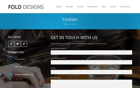 Screenshot of Contact Page folddesigns.com - Contact Us | Fold Designs - captured Sept. 30, 2014