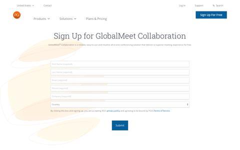 Screenshot of Signup Page pgi.com - Sign Up for GlobalMeet Collaboration | PGi - captured Jan. 5, 2020