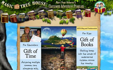 Screenshot of Home Page mthclassroomadventures.org - Magic Tree House Classroom Adventures Program - captured Sept. 1, 2015