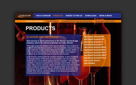 Screenshot of Products Page agrigum.com - Agrigum - Flavour and Beverage | Agrigum International - captured Feb. 5, 2016