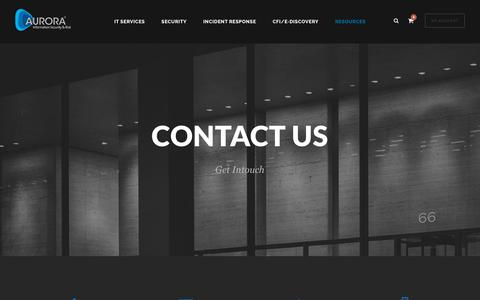 Screenshot of Contact Page aurorasecurity.com - Contact - AuroraSecurity - captured Oct. 4, 2018