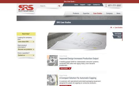 Screenshot of Case Studies Page scottrotaryseals.com - Case Studies - SRS - captured Nov. 7, 2018