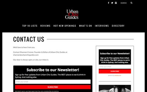 Screenshot of Contact Page urbanchicguides.com - Contact | Sydney Restaurant Reviews | Urban Chic Guides - captured Jan. 10, 2016