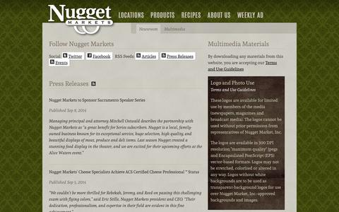 Screenshot of Press Page nuggetmarket.com - Nugget Market Newsroom - captured Oct. 31, 2014