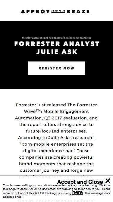 Forrester's Mobile Engagement Automation Report | Appboy (soon to be Braze)