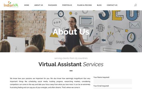 Screenshot of About Page indianva.com - Indian Virtual Assistant Services Company | IndianVA - captured Nov. 6, 2018