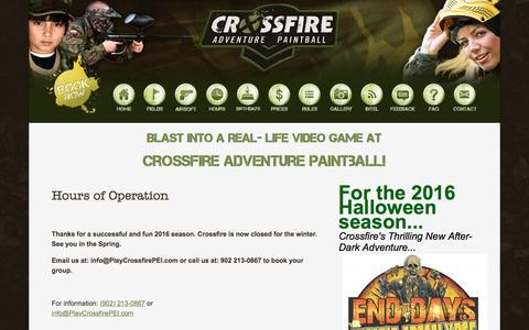 Screenshot of Hours Page playcrossfirepei.com - Crossfire Paintball PEI - captured Nov. 14, 2016