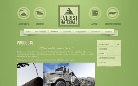 Screenshot of Products Page everistmaterials.com - Products - captured Oct. 3, 2014