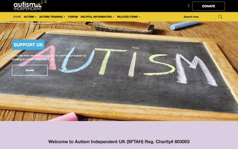 Screenshot of Home Page autismuk.com - Autism independent UK | Autism Information, Support, Training Services and Autism Forum, links World Wide. - captured March 5, 2016