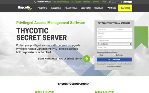 Screenshot of Products Page thycotic.com - Powerful Privileged Access Management | On-Premise or in the Cloud - captured July 13, 2019