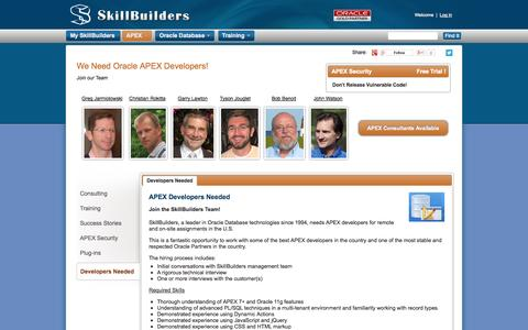 Screenshot of Developers Page skillbuilders.com - Oracle APEX Developers Required - Job Applications - captured Oct. 30, 2014