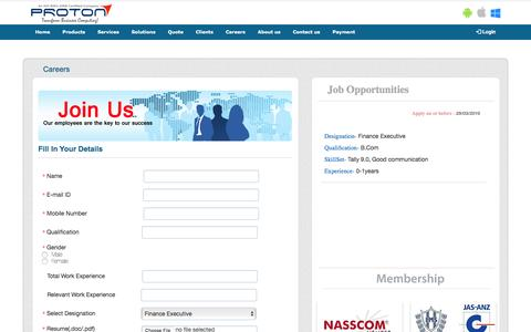 Screenshot of Jobs Page protontech.in - Proton : Career - captured April 14, 2016