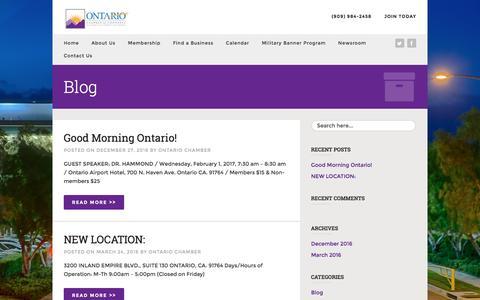 Screenshot of Press Page ontario.org - Newsroom - Ontario Chamber of Commerce - captured Jan. 24, 2017