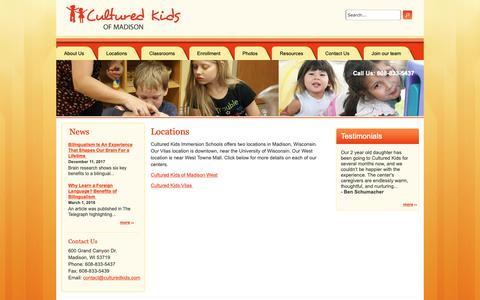 Screenshot of Locations Page culturedkidsofmadison.com - Locations | Cultured Kids of Madison - captured Sept. 30, 2018