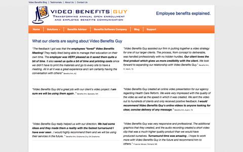 Screenshot of Testimonials Page videobenefitsguy.com - Employee benefits, benefits videos, reviews, testimonials - captured Dec. 3, 2016