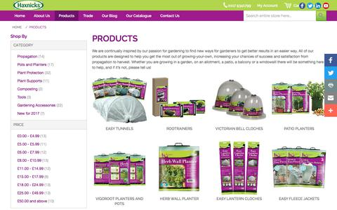 Screenshot of Products Page haxnicks.co.uk - Gardening Products | Haxnicks - captured July 22, 2017