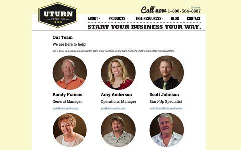 Screenshot of About Page Team Page uturnvending.com - Bulk Vending | Vending Sales Success Training Program- U-Turn Vending - captured Oct. 23, 2014