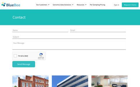 Screenshot of Contact Page bluebee.com - Contact   BlueBee High Performance Genomics : BlueBee - captured Nov. 13, 2018