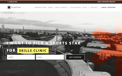 Screenshot of Home Page pickstar.com.au - Home | PickStar - The best place to book sports stars – Guest speakers, marketing, influencers & more. - captured July 18, 2018