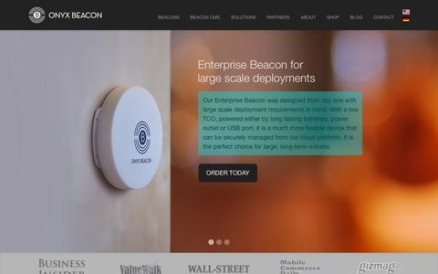 Screenshot of Home Page onyxbeacon.com - OnyxBeacon iBeacon™ hardware for micro location and context. iBeacon™ CMS for retailers - captured Oct. 1, 2015