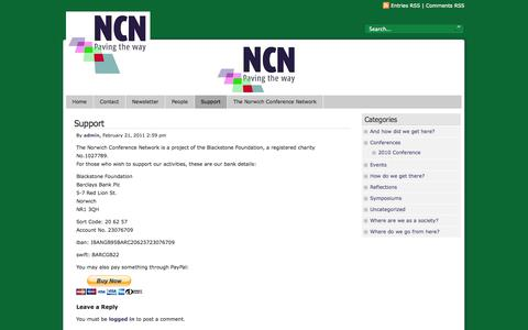 Screenshot of Support Page norwichconference.com - The Norwich Conference Network  » Support - captured Nov. 1, 2014