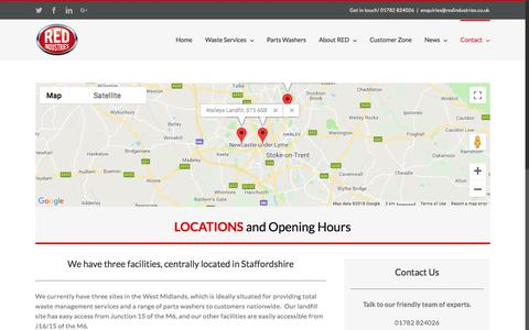 Screenshot of Locations Page redindustries.co.uk - Locations Stoke & Staffordshire Waste Management - captured Sept. 21, 2018