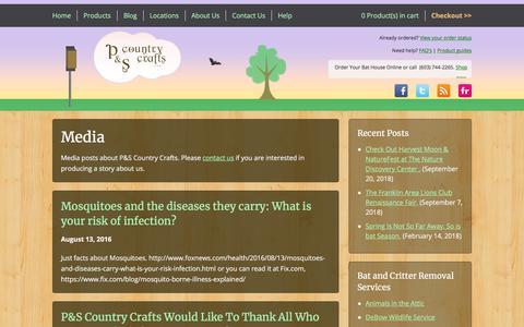 Screenshot of Press Page pscountrycrafts.com - Media | P&S Country Crafts - captured Sept. 25, 2018