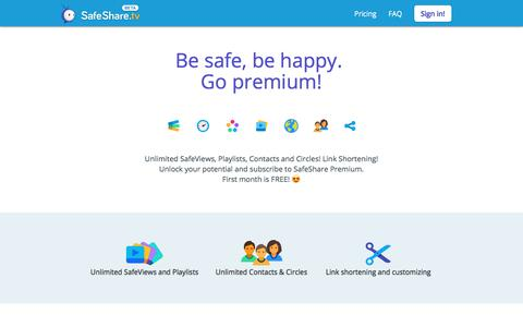 Screenshot of Pricing Page safeshare.tv - SafeShare.tv - Be safe, be happy. Go premium! - captured Sept. 21, 2018
