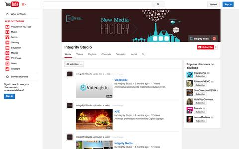 Screenshot of YouTube Page youtube.com - Integrity Studio  - YouTube - captured Oct. 29, 2014