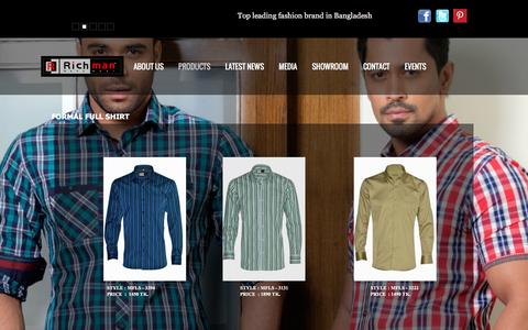 Screenshot of Products Page richmanbd.com - Richman Formal Shirt - Full - captured Jan. 30, 2017