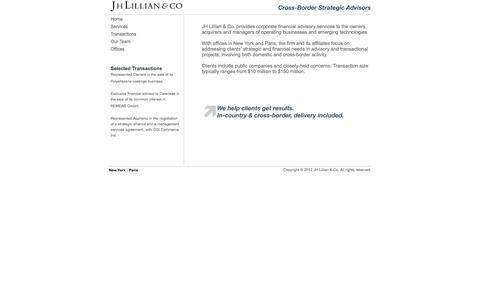 Screenshot of Home Page jhlillian.com - JH Lillian & Co. // Cross-Border Strategic Advisors - captured Feb. 3, 2016