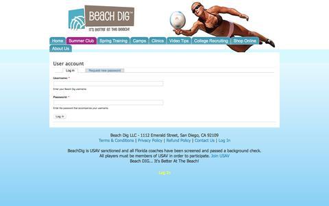 Screenshot of Login Page beachdig.com - User account   Beach Dig - captured Feb. 7, 2016