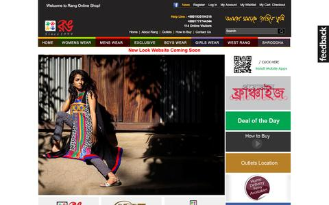 Screenshot of Home Page rang-bd.com - Rang | Leading fashion house of Bangladesh - captured Jan. 18, 2016