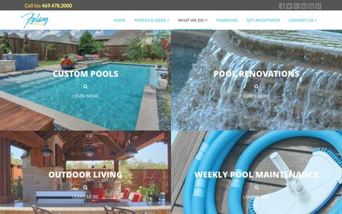 Screenshot of Services Page foleypools.com - Pool Contractor Services | Foley Pools (469) 478-2000 - captured Aug. 4, 2016