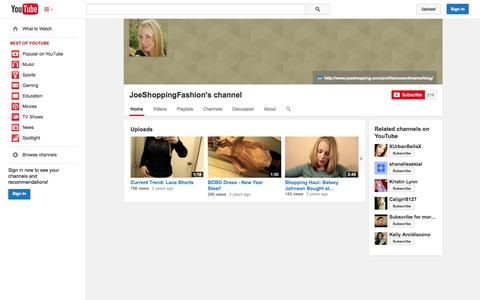 Screenshot of YouTube Page youtube.com - JoeShoppingFashion's channel  - YouTube - captured Oct. 23, 2014
