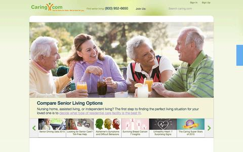 Screenshot of Home Page caring.com - Senior Care: Housing, Home Care, Community, Articles - captured Oct. 5, 2015