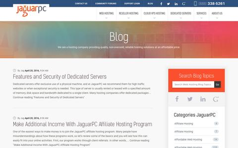 Screenshot of Blog jaguarpc.com - Web Hosting News, Tips & Tricks and More | JaguarPC Blog - captured Dec. 2, 2016