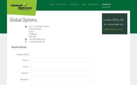 Screenshot of Contact Page globaloptions.co.uk - Contact Us - captured Nov. 8, 2016