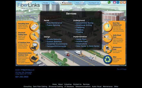 Screenshot of Services Page fiberlinksllc.com - Fiberlinks - Services - captured Sept. 30, 2014