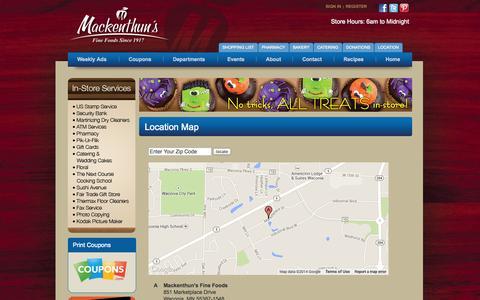 Screenshot of Locations Page mackenthuns.com - Mackenthun's Location :: 851 Marketplace Drive, Waconia, MN 55387 - captured Oct. 4, 2014