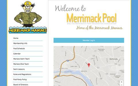 Screenshot of Maps & Directions Page merrimackpool.org - Merrimack Pool |   Directions - captured June 22, 2016